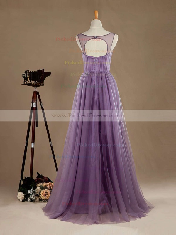 Boutique A-line V-neck Tulle Floor-length with Beading Open Back Bridesmaid Dresses #PDS01012965