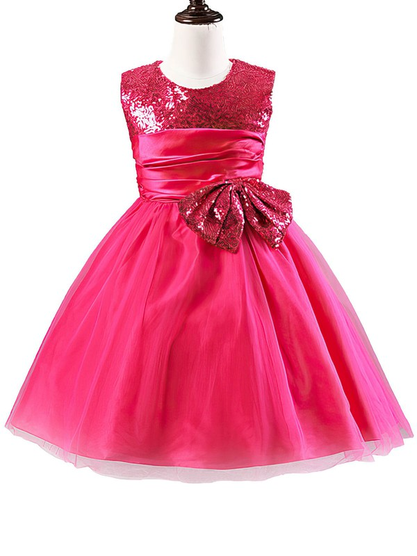 A-line Scoop Neck Tulle Sequined with Bow Beautiful Tea-length Flower Girl Dresses #PDS01031902