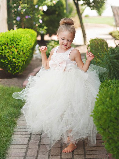Fabulous Princess Scoop Neck Lace Tulle with Bow Ankle-length Flower Girl Dresses #PDS01031903