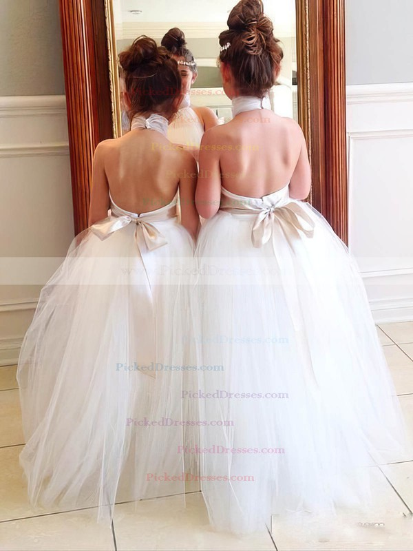 Halter A-line Tulle Floor-length Sashes / Ribbons Perfect Backless Flower Girl Dresses #PDS01031904