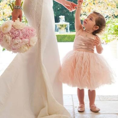 A-line Square Neckline Tulle Ruffles Famous Tea-length Flower Girl Dresses #PDS01031905