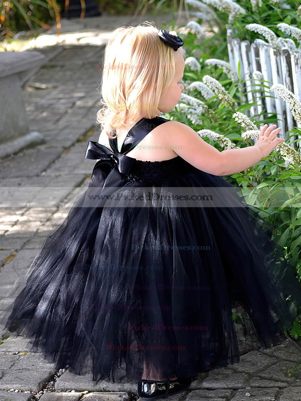 Princess Square Neckline Tulle Flower(s) Cute Black Tea-length Flower Girl Dresses #PDS01031907
