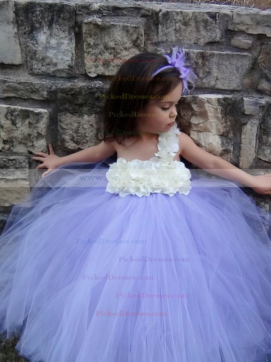 Stunning Empire Tulle Floor-length Flower(s) One Shoulder Flower Girl Dresses #PDS01031908