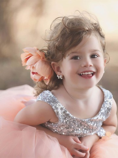Ball Gown Scoop Neck Tulle Sequined Floor-length Flower(s) Classy Backless Flower Girl Dresses #PDS01031909