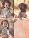 Ball Gown Scoop Neck Tulle Sequined Floor-length Flower(s) Classy Backless Flower Girl Dresses #PDS01031909