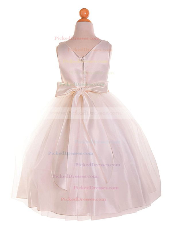 Cheap A-line Scoop Neck Tulle with Bow Tea-length Flower Girl Dresses #PDS01031910