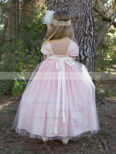 Princess Sweetheart Tulle Sashes / Ribbons Pretty Pink Ankle-length Flower Girl Dresses #PDS01031911