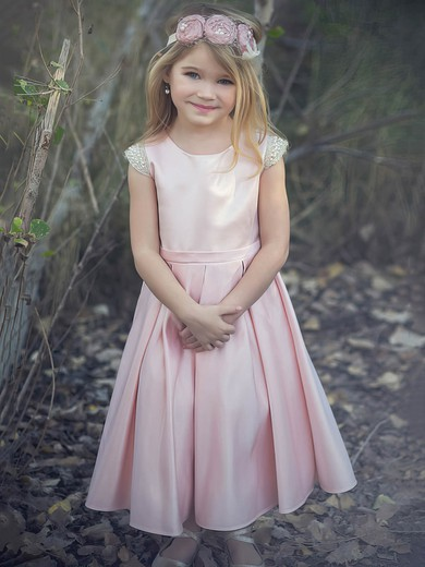 A-line Scoop Neck Satin with Bow Affordable Pink Ankle-length Flower Girl Dresses #PDS01031912