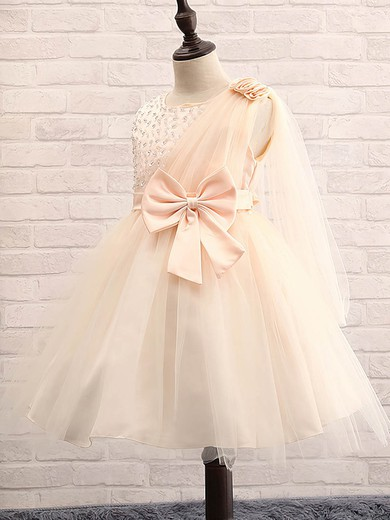 Fashion Ball Gown Scoop Neck Tulle with Beading Tea-length Flower Girl Dresses #PDS01031913