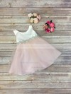 A-line Scoop Neck Tulle with Beading Inexpensive Tea-length Flower Girl Dresses #PDS01031914
