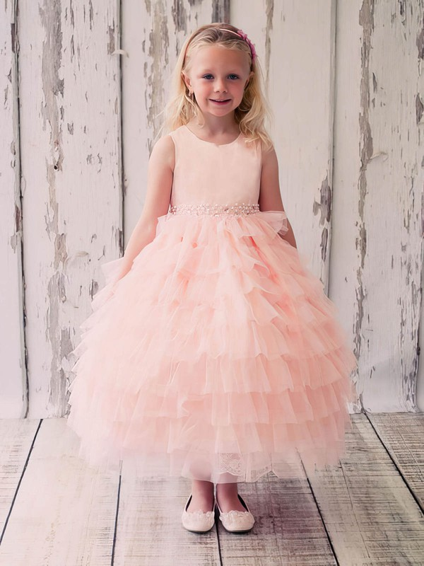 Original Princess Scoop Neck Tulle with Beading Ankle-length Flower Girl Dresses #PDS01031915