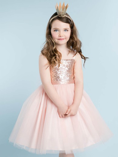 Sparkly A-line Square Neckline Tulle Sequined with Bow Knee-length Flower Girl Dresses #PDS01031916