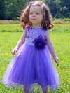 Sweet A-line Scoop Neck Tulle Sequined Sashes / Ribbons Tea-length Flower Girl Dresses #PDS01031917