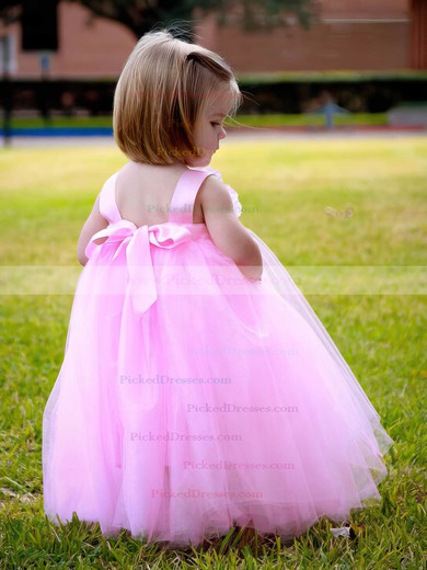 Empire Square Neckline Tulle Sashes / Ribbons Fashion Ankle-length Flower Girl Dresses #PDS01031918