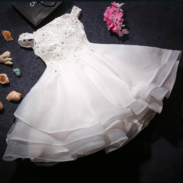 Custom A-line Organza with Beading Tea-length Off-the-shoulder Flower Girl Dresses #PDS01031919