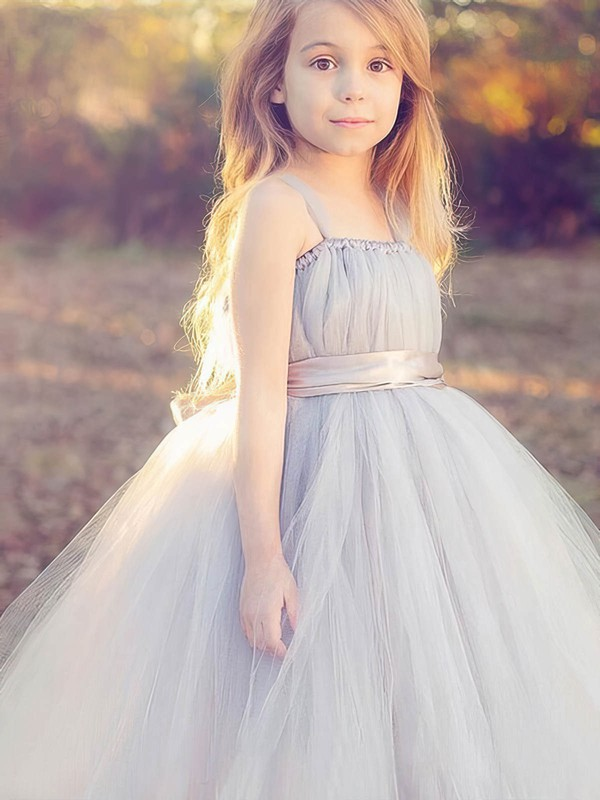 Trendy Square Neckline Tulle Floor-length Sashes / Ribbons Princess Flower Girl Dresses #PDS01031920