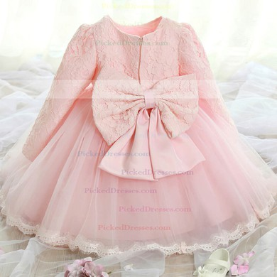 Ball Gown Scoop Neck Lace Tulle Ankle-length Bow Long Sleeve Popular Flower Girl Dresses #PDS01031921