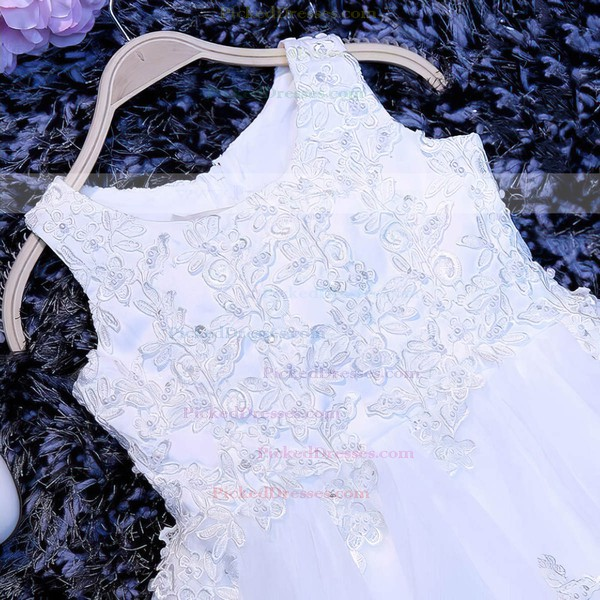 A-line Scoop Neck Tulle Appliques Lace Wholesale Tea-length Flower Girl Dresses #PDS01031922