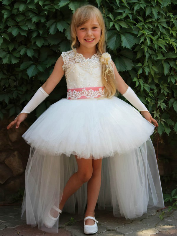 Ball Gown Scoop Neck Tulle with Beading Unique Asymmetrical Flower Girl Dresses #PDS01031923