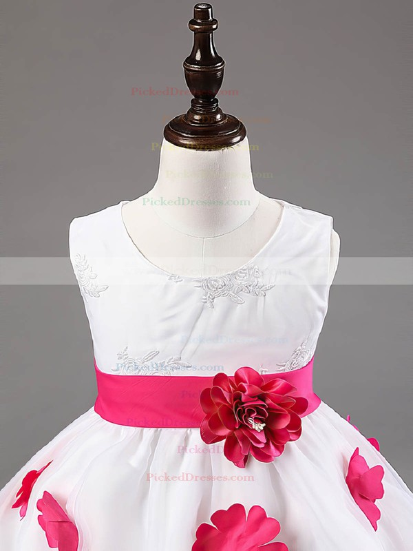 Ball Gown Scoop Neck Organza Sashes / Ribbons Promotion Ankle-length Flower Girl Dresses #PDS01031924