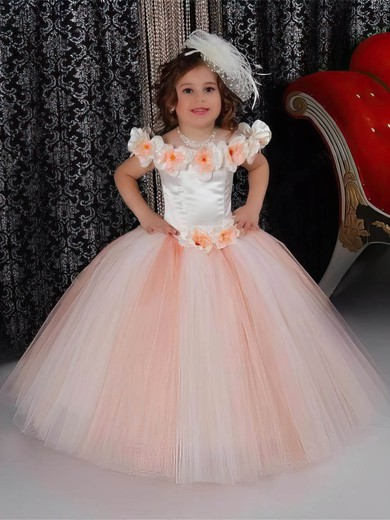 Scoop Neck Tulle Floor-length with Flower(s) Classic Ball Gown Flower Girl Dresses #PDS01031926