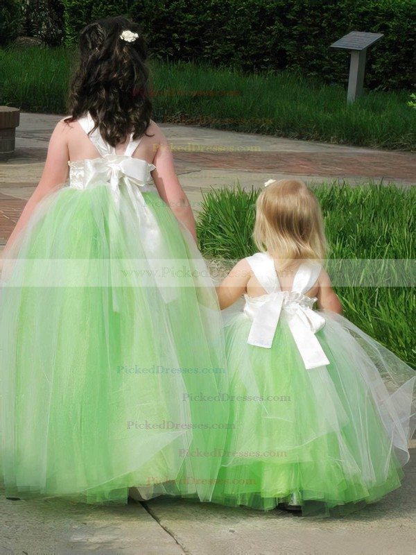 New Style A-line Square Neckline Tulle with Bow Floor-length Flower Girl Dresses #PDS01031927