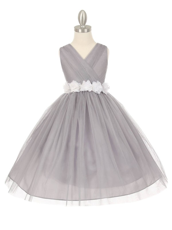Simple V-neck Tulle Sashes / Ribbons Floor-length Ball Gown Flower Girl Dresses #PDS01031928