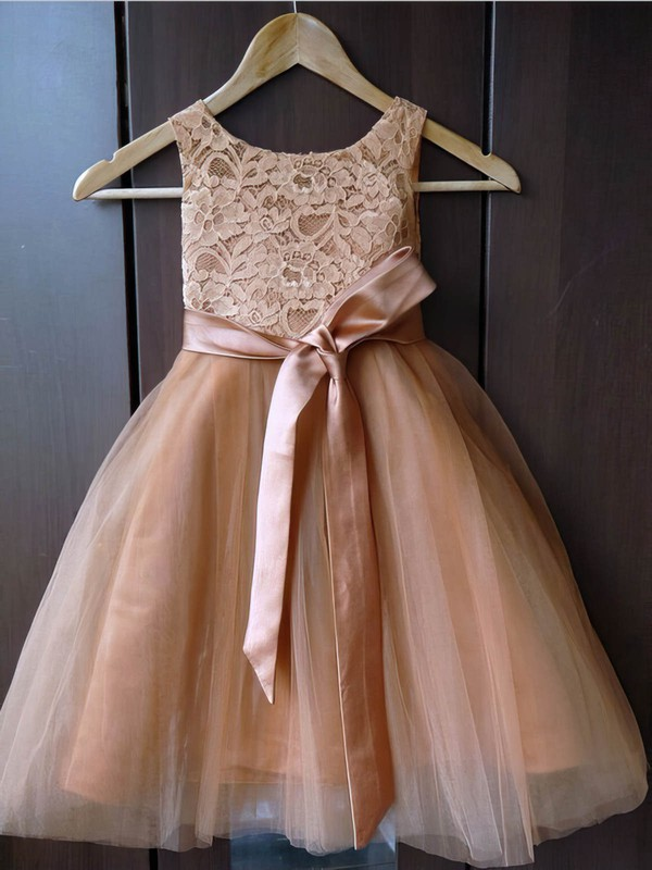 A-line Scoop Neck Lace Tulle Sashes / Ribbons Ankle-length New Flower Girl Dresses #PDS01031929