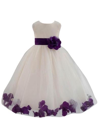 Newest Ball Gown Scoop Neck Tulle Floor-length Sashes / Ribbons Flower Girl Dresses #PDS01031930