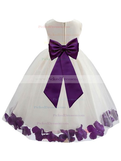 Newest Ball Gown Scoop Neck Tulle Floor-length Sashes / Ribbons Flower Girl Dresses #PDS01031930