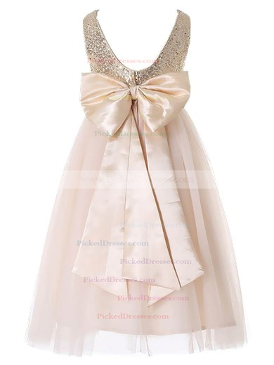 Discounted A-line Scoop Neck Tulle Sequined with Bow Floor-length Flower Girl Dresses #PDS01031931