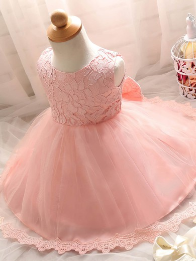New Arrival Ball Gown Scoop Neck Lace Tulle with Bow Tea-length Flower Girl Dresses #PDS01031932