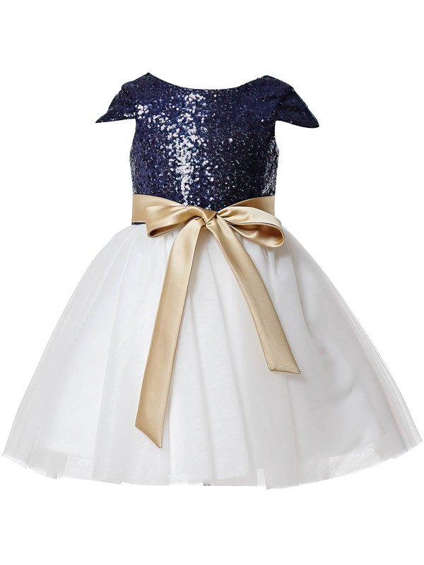 A-line Scoop Neck Tulle Sequined Sashes / Ribbons Online Ankle-length Flower Girl Dresses #PDS01031933