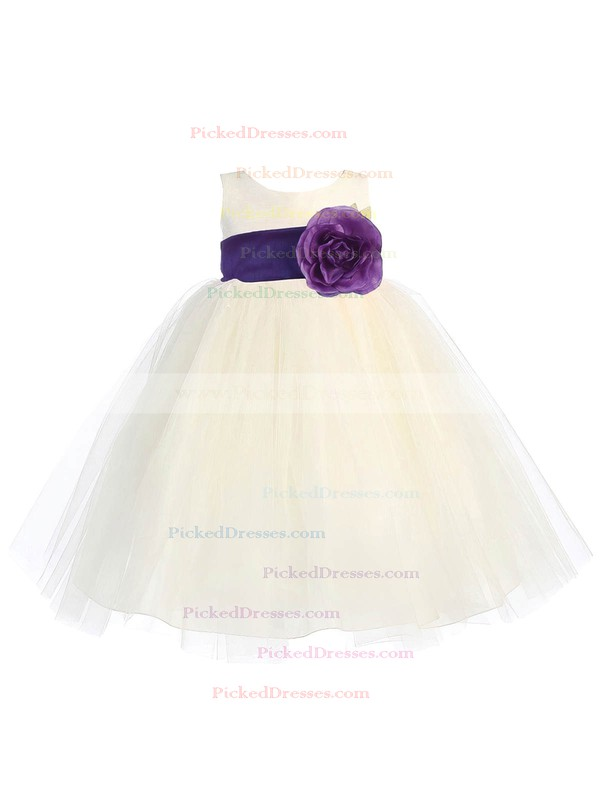 Scoop Neck Tulle Floor-length Sashes / Ribbons Boutique Ball Gown Flower Girl Dresses #PDS01031934