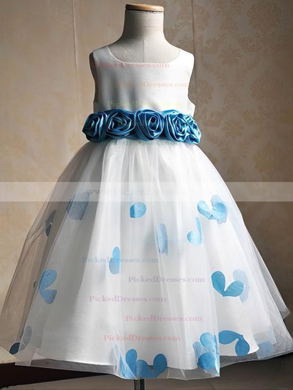 Custom Scoop Neck Tulle Floor-length Sashes / Ribbons Ball Gown Flower Girl Dresses #PDS01031935