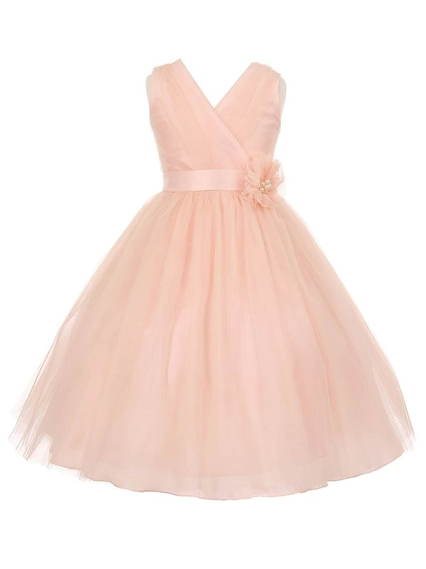 Princess V-neck Tulle Sashes / Ribbons Floor-length Affordable Flower Girl Dresses #PDS01031936