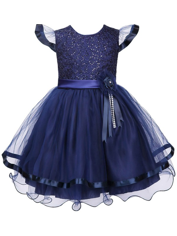 Nice A-line Scoop Neck Tulle with Sashes / Ribbons Ankle-length Flower Girl Dresses #PDS01031939