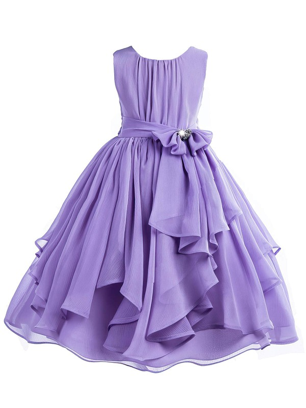 A-line Scoop Neck Chiffon Sashes / Ribbons Floor-length Cheap Flower Girl Dresses #PDS01031940