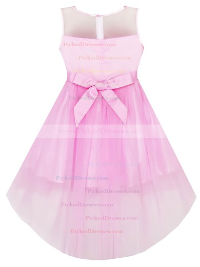 Unusual A-line Scoop Neck Tulle with Bow Asymmetrical Flower Girl Dresses #PDS01031941