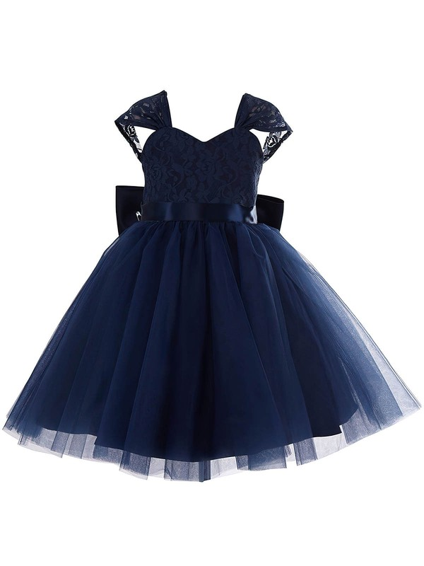 Cute Princess Sweetheart Lace Tulle Bow Dark Navy Tea-length Flower Girl Dresses #PDS01031943