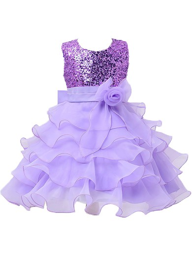 Discounted A-line Scoop Neck Organza with Bow Tea-length Flower Girl Dresses #PDS01031944