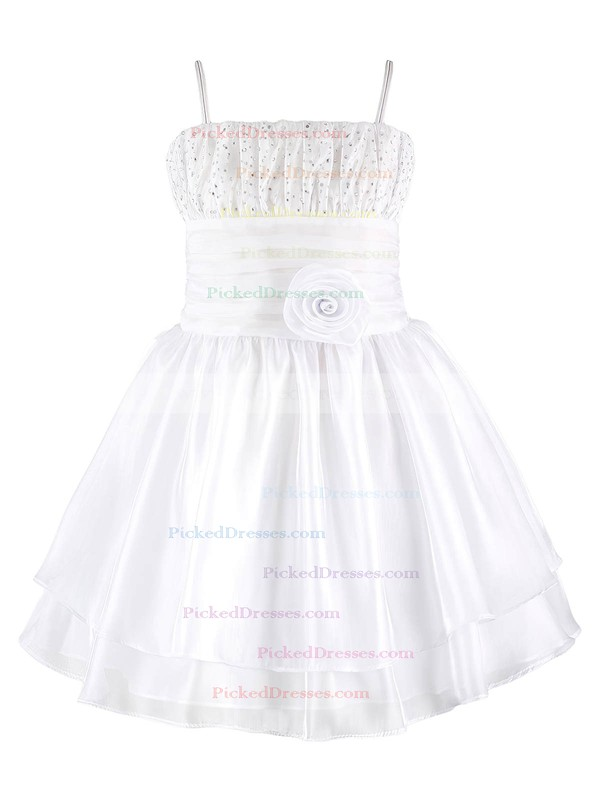 Original A-line Square Neckline Organza with Beading Knee-length Flower Girl Dresses #PDS01031945