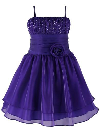Original A-line Square Neckline Organza with Beading Knee-length Flower Girl Dresses #PDS01031945