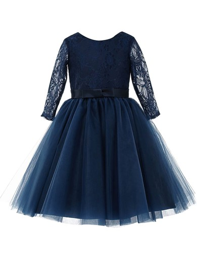 Latest A-line Scoop Neck Lace Tulle Sashes / Ribbons Long Sleeve Tea-length Flower Girl Dresses #PDS01031947