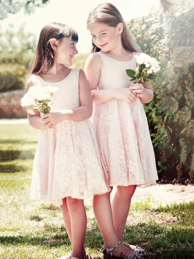 A-line Scoop Neck Lace Sashes / Ribbons Knee-length Classy Flower Girl Dresses #PDS01031949