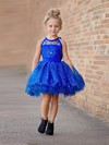 Different Ball Gown Scoop Neck Tulle Appliques Lace Short/Mini Flower Girl Dresses #PDS01031950