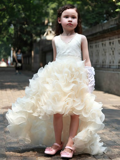 Unique A-line V-neck Organza with Beading Asymmetrical Flower Girl Dresses #PDS01031951