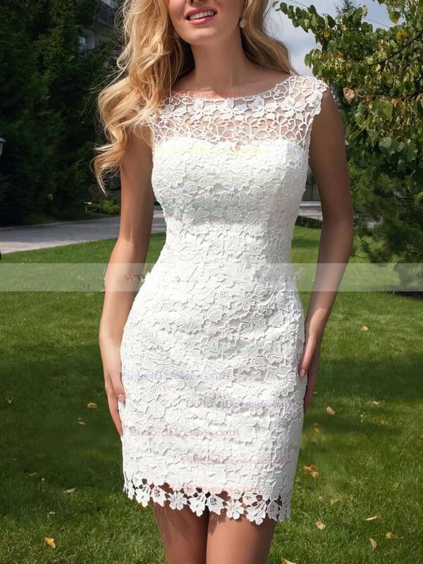 Sheath/Column Scoop Neck Lace Tulle Ruffles Open Back Funky Detachable Wedding Dresses #PDS00022524