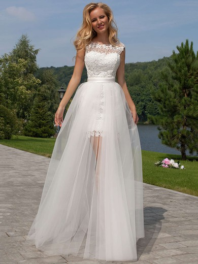 Sheath/Column Scoop Neck Lace Tulle Ruffles Open Back Funky Detachable Wedding Dresses #PDS00022524