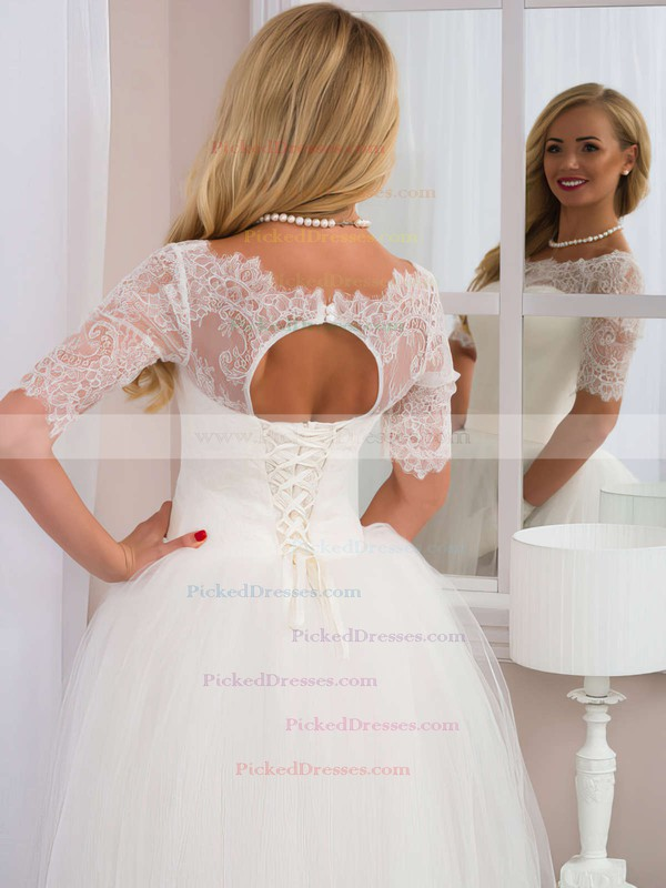 Sweet A-line Scoop Neck Tulle Floor-length Lace 1/2 Sleeve White Wedding Dresses #PDS00022525